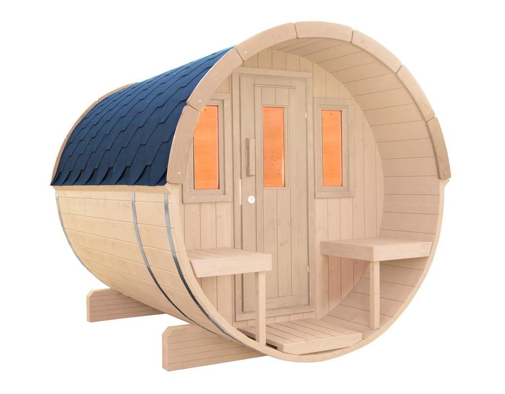 WOLFF FINNHAUS Saunafass 250 montiert Dachschindeln
