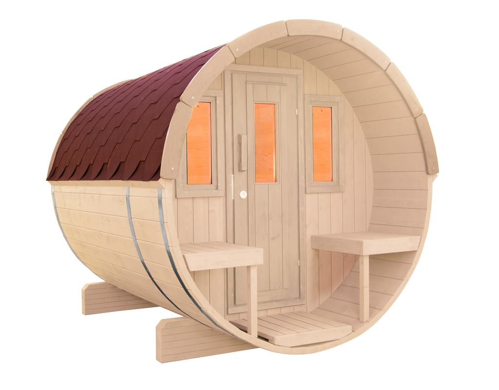 WOLFF FINNHAUS Saunafass 250 montiert Dachschindeln rot