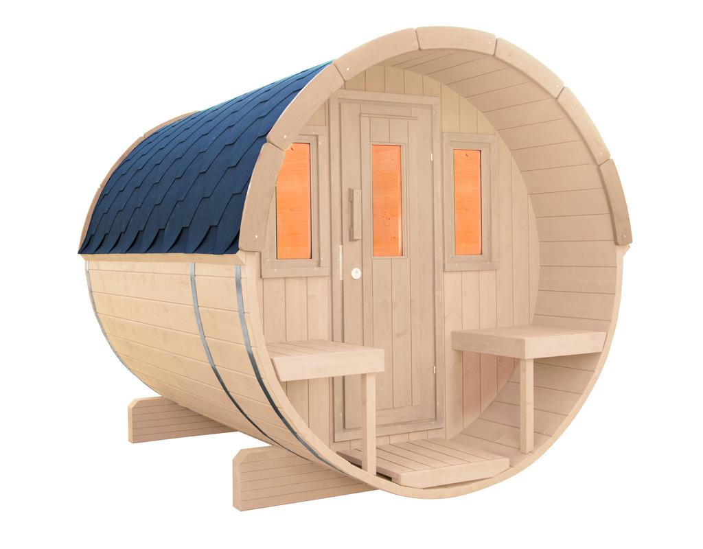 WOLFF FINNHAUS Saunafass 250 Bausatz Dachschindeln