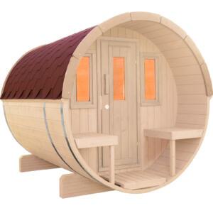 WOLFF FINNHAUS Saunafass 250 Bausatz Dachschindeln rot