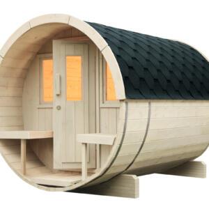 WOLFF FINNHAUS Saunafass 280 montiert Dachschindeln
