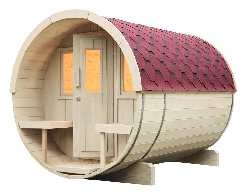 WOLFF FINNHAUS Saunafass 280 montiert Dachschindeln rot