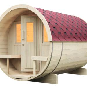 WOLFF FINNHAUS Saunafass 280 Bausatz Dachschindeln rot
