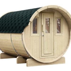 WOLFF FINNHAUS Saunafass 330 montiert Dachschindeln