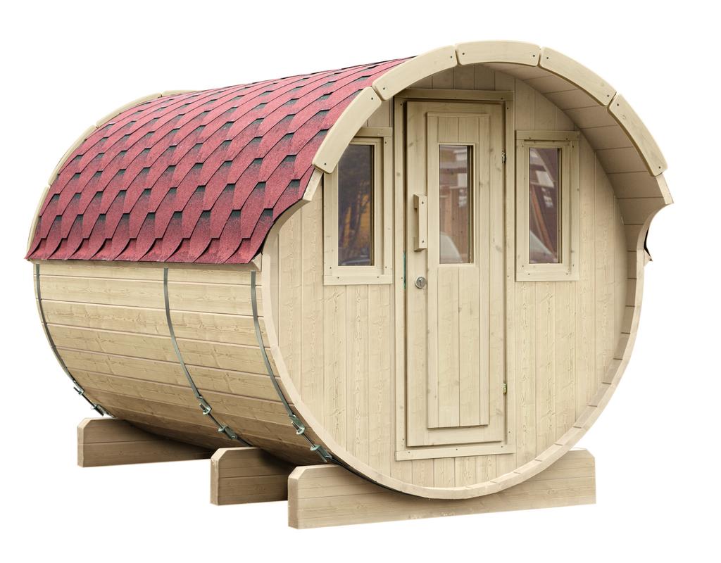 WOLFF FINNHAUS Saunafass 330 montiert Dachschindeln rot