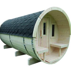 WOLFF FINNHAUS Saunafass 400 Bausatz Dachschindeln