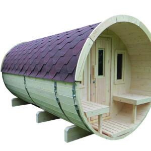 WOLFF FINNHAUS Saunafass 400 Bausatz Dachschindeln rot