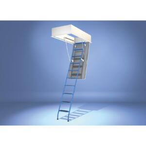Wellhöfer Bodentreppe StahlBlau mit WärmeSchutz WS3D Deckenöffnung 120x60, lichte